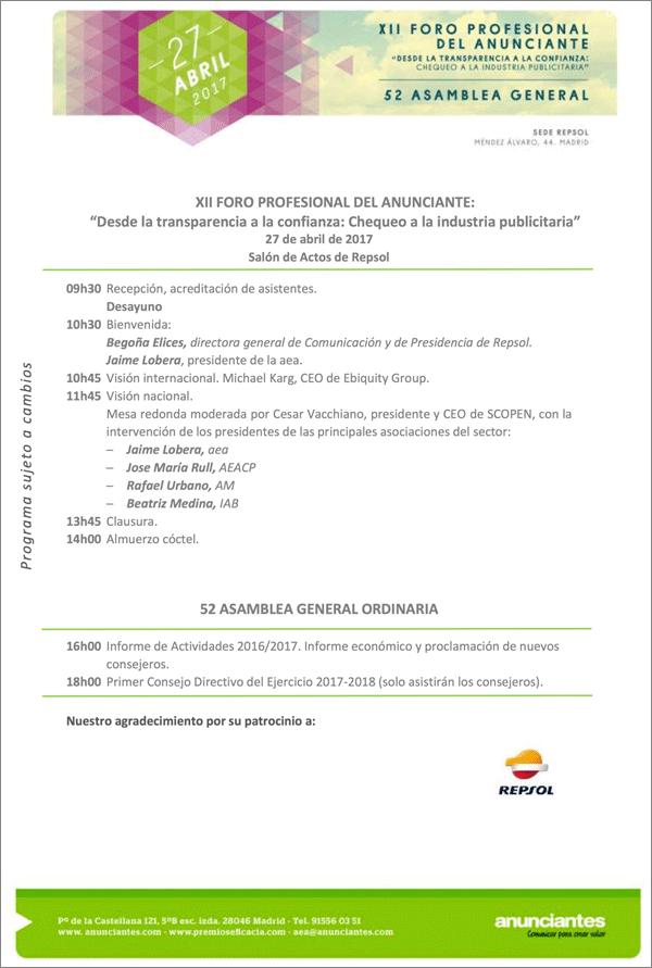Programa Foro y Asamblea aea 2017